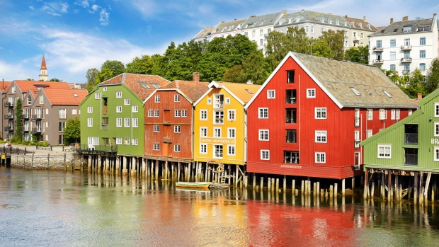 Colorful historic stilt houses in Trondheim, Norway.
