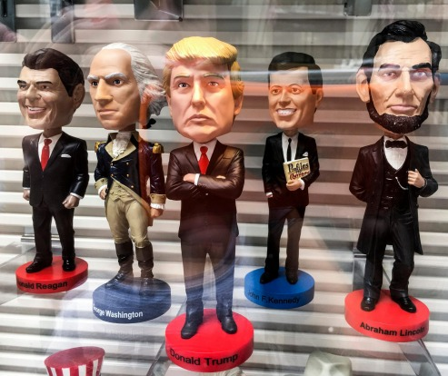 Items with Donald Trump effigy sold on Time Square, NY.