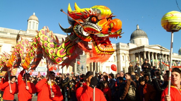 Chinese dragon in Trafalgar Square, London