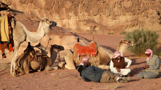 Late afternoon in Wadi Rum with Bedouin guides.