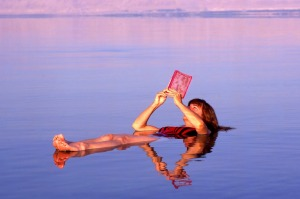 No hands: Floating on the Dead Sea, Jordan.