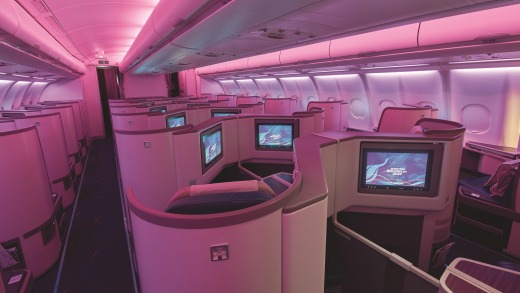 Interior of the new SriLankan Airlines business class A330-300.