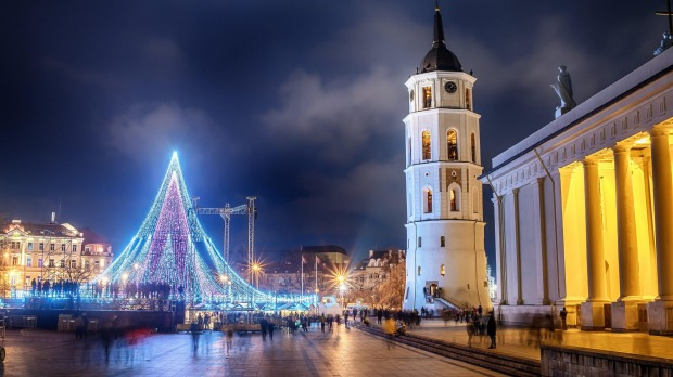 Cathedral Square in Vilnius, Lithuania.