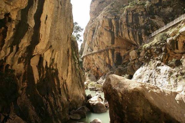 CAMINITO DEL REY: WHERE Gaitanes Gorge, Malaga Province, Spain. HEIGHT The gorge is 700 metres high and only 10 metres ...