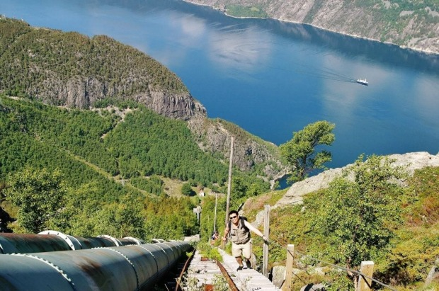 FLORLI STAIRS: WHERE Florli, Lysefjord, Norway. HEIGHT You climb 740 metres above the fjiord on steps that run for 4.8 ...