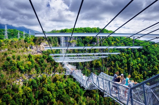 SKYBRIDGE, RUSSIA- Stretching 439 metres above the forested Krasnaya Polyana valley near the Black Sea summer resort ...