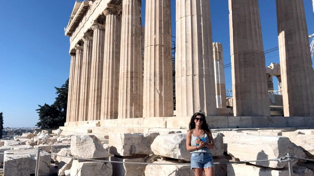 At the Parthenon in Athens.