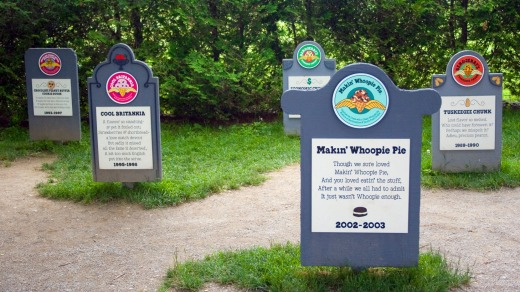 RIP Makin' Whoopie Pie - the flavour graveyard at Ben and Jerry's ice cream factory, Vermont.