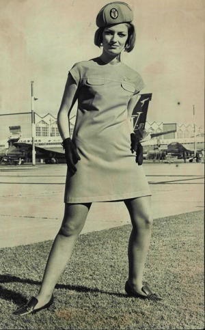 Deirdre Graham models the new Qantas uniforms in 1969. Working as a flight attendant in those days was 'spectacular fun' ...