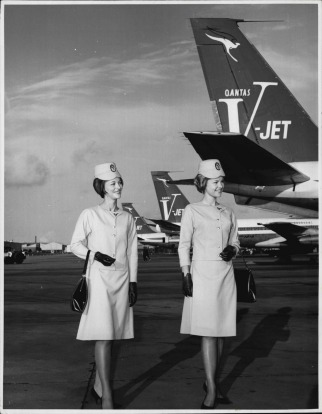 Before and after: Qantas uniforms changed in 1972, but only slightly.