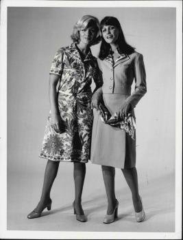 The new Qantas Flight Hostess uniform from Emilio Pucci. At left the brilliantly coloured shirt-dress in silk-like ...