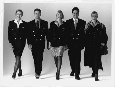 The new Qantas uniform, to be worn by 10,000 flight attendants, sales and airport customer contact staff from late 1994. ...