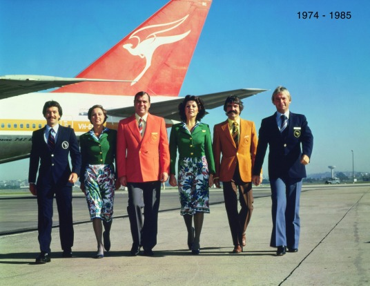 Qantas uniforms across the ages, from, 1974-1987 The flower-power look of the 1970s was personified in the floral ...