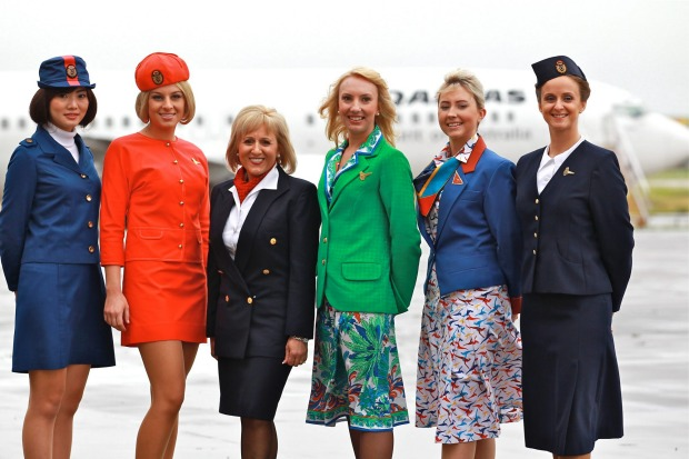 Qantas past and present uniforms. From left to right. 1971 to 1974, 1974 to 1987, 2003 to 2011, 1987 to 1995, 1995 to ...