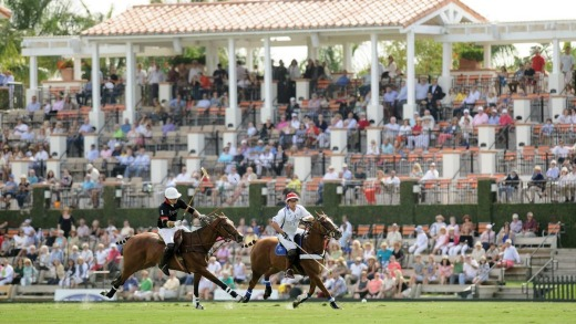Action on the field at the Palm Beach International Polo Club.