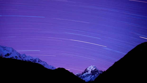 The night sky over Aoraki Mount Cook National Park, South Island, New Zealand.