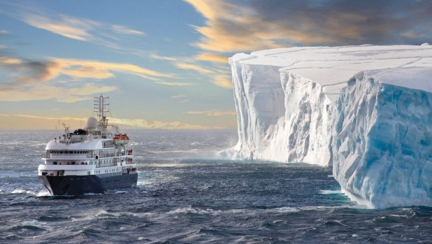 Even in the summer months the Antarctic Sound is often filled with huge tabular icebergs.