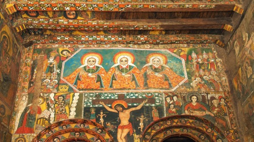 Paintings inside an ancient church in Gondar, Ethiopia.