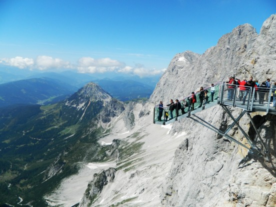 STAIRWAY TO NOTHINGNESS: WHERE Dachstein, Styria, Austria. HEIGHT 2700 metres above sea level, with 369 metres of sheer ...