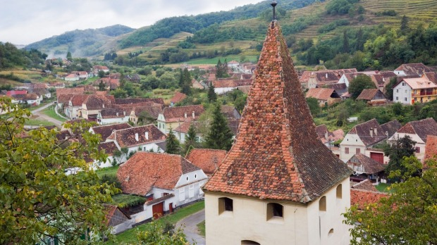 Red tiled rooftops of a village in Transylvania, Romania.