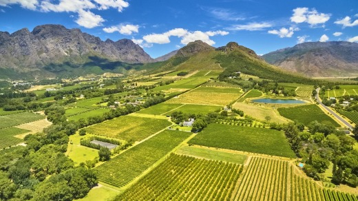 Franschoek winelands and mountain countryside, South Africa.