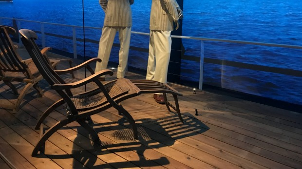 Deckchairs from the Titanic featured in the exhibition while in London.