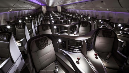 Seat pitch is a generous 190cm and seat width is spacious at 60cm in business class on the Boeing 777.