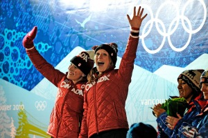 Winners of the gold medal for team Canada during the ladies' two-man bobsled competition at the Whistler Sliding Center ...