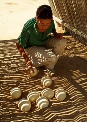 A ranger counts ostrich eggs at a farm in Oudtshoorn in the Karoo region South Africa.