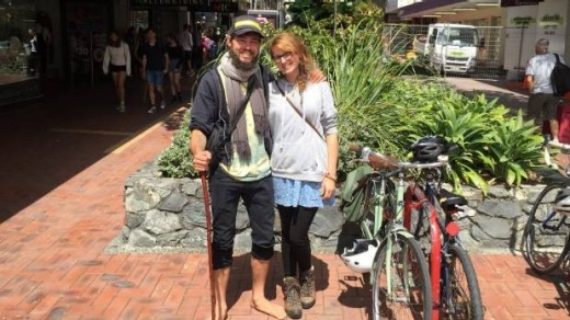 Anna Karg (R) with Enoch Orious (L) dressing suspiciously hobbit-like in the hope of blending in on Wellington's Cuba St.