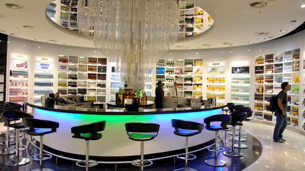 A Duty Free shop and bar, Terminal 5, Heathrow Airport.