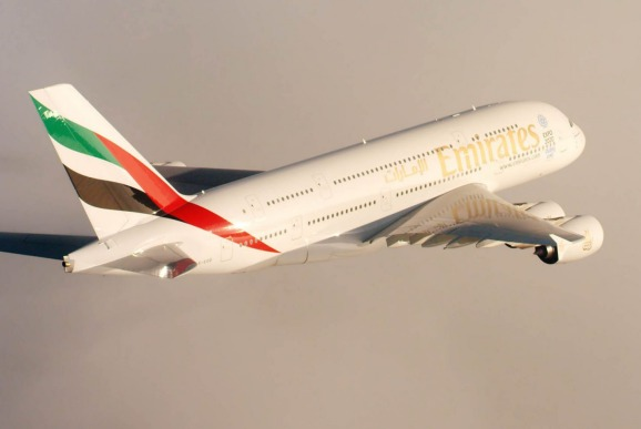 An Emirates A380.