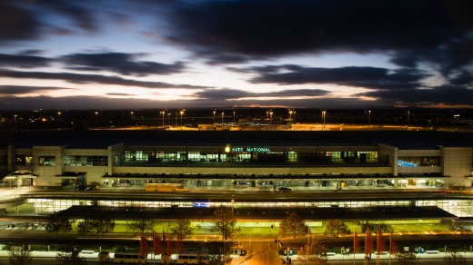 Melbourne Airport at night.