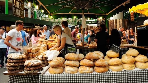 A bakery stall in Borough Market. The market has traded for more than 250 years.