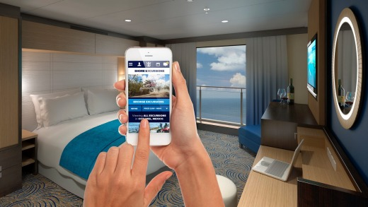 Royal Caribbean Royal iQ is available as a downloadable app and provided at freestanding iQ stations around the ship.