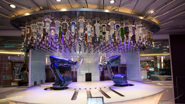 Perfect cocktails and no political opinions at the Bionic Bar on Royal Caribbean International's Quantum of the Seas.