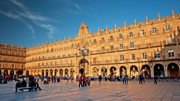 Plaza Mayor, Salamanca, is a magnificent 18th-century town square which was built to host epic bullfights, the last of ...