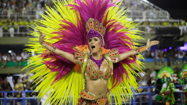 A performer from Academicos do Grande Rio samba school parades during 2018 Carnival celebrations at the Sambadrome in ...