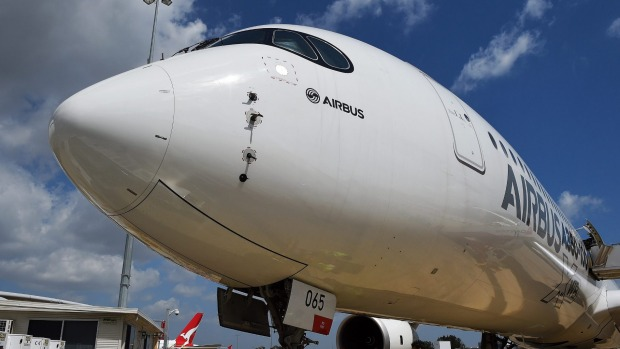 The Airbus A350-1000 plane at Mascot airport, Sydney.