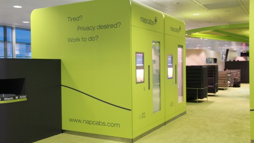 Napcabs: private sleeping pods available for 10 euros an hour.