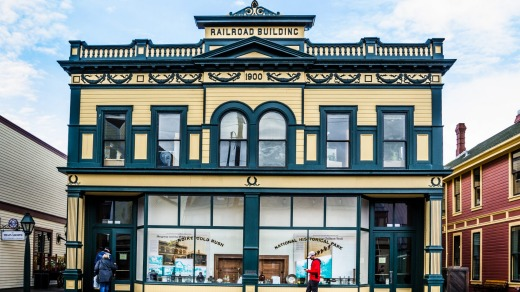 The Railroad Building in Skagway, Alaska, is one of many historic storefronts in a town attracting hundreds of gold ...