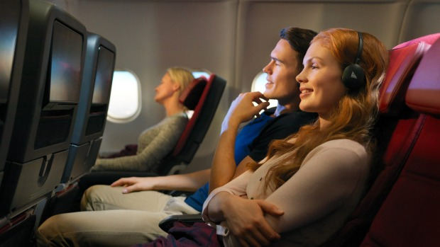 Qantas A330 economy cabin. You can start browsing and viewing from the moment you find your seat.