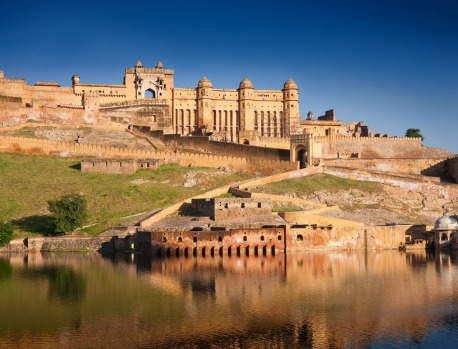 AMBER FORT: The forbidding exterior of this enormous carbuncle on a hillside just beyond town hides a more delicate ...