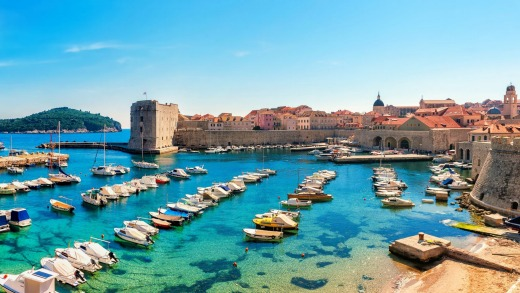 Beautiful sunny day over the bay in front of old town of Dubrovnik