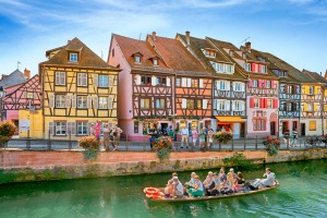 Half-timbered houses in Petite Venise (Little Venice) district, Colmar, France.