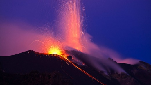 Lava eruption on the volcanic island of Stromboli in Sicily, Italy.