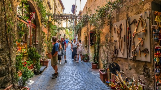 Ancient buildings near the Cathedral of Orvieto (Duomo di Orvieto) in Umbria, Italy,