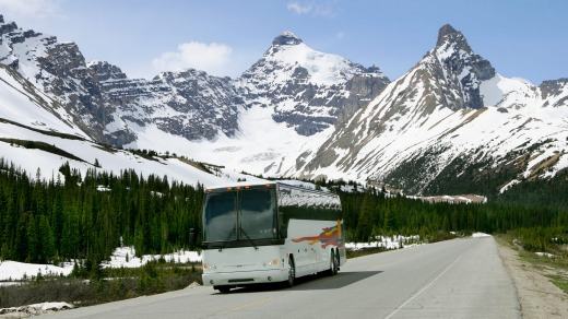 Sensational scenery: A coach tour through the Canadian mountains.