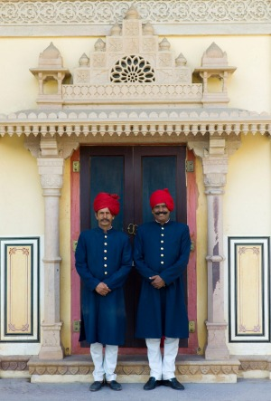 Palace guards in achkan suit at former Royal Guest House in the Maharaja's Moon Palace in Jaipur, Rajasthan.