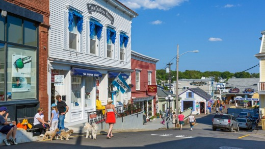 Wharf Street in Boothbay Harbor, Lincoln County, Maine.